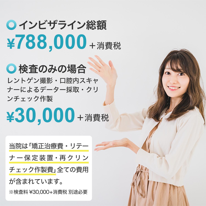 インビザライン総額 ¥798,000+消費税 検査のみの場合(レントゲン撮影・口腔内スキャナーによるデーター採取・クリンチェック作成)¥30,000+消費税/当院は「初回検査料・矯正治療費・リテーナー保定装置・再クリンチェック作製費」全ての費用が含まれています。